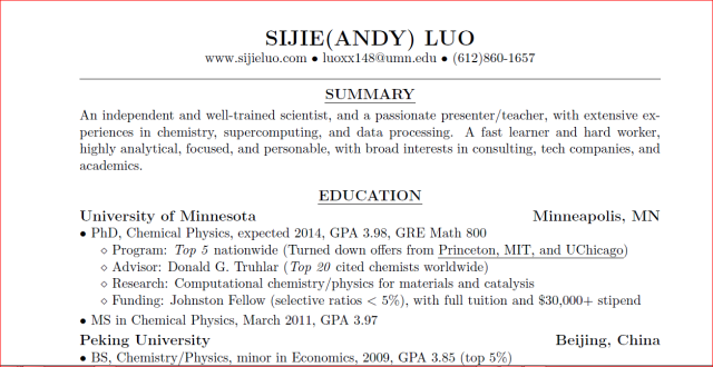Write Your Consulting Resume Using Latex Part 1 Sijie